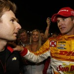Ryan Hunter-Reay (right) talks with Will Power after Saturday's IZOD IndyCar Series finale. (Photo Courtesy IZOD IndyCar Series)