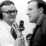 Chris Economaki interviews the legendary A.J. Foyt. (NSSN Archives Photo)