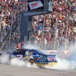 Brad Keselowski celebrates after winning Sunday's AAA 400 at Dover (Del.) Int'l Speedway. (HHP/Alan Marler Photo)