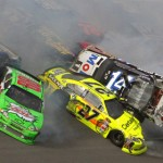Dale Earnhardt, Jr. (88), Paul Menard (27), Tony Stewart (14) and most of the rest of the field crash during 'The Big One' last fall at Talladega (Ala.) Superspeedway. (HHP/Brian Lawdermilk Photo)