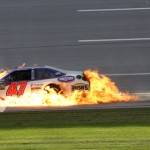 The No. 47 of Bobby Labonte catches fire after being involved in 'The Big One' Sunday afternoon at Talladega (Ala.) Superspeedway. (HHP/Harold Hinson Photo)