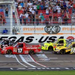 Timothy Peters (17) and Joey Coulter (22) lead the field to the green flag at Las Vegas Motor Speedway earlier this year. LVMS returns to the schedule in 2013. (HHP/Tami Kelly Pope Photo)