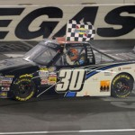 Nelson Piquet, Jr. celebrates after winning his second NASCAR Camping World Truck Series race of the year at Las Vegas Motor Speedway. (NASCAR Photo)