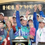 Matt Kenseth celebrates in victory lane with his crew after winning the Hollywood Casino 400 at Kansas Speedway. (NASCAR Photo)