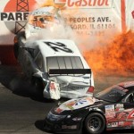 Jeremy Spoonmore's engine explodes in a ball of fire during Sunday's Mid-American Stock Car Series race after contact with Brad Keith sent his car into the turn three wall at Rockford Speedway in Loves Park, Ill. (Doug Hornickel Photo)