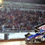 Donny Schatz crosses the finish line to win the World of Outlaws Sprint Car Series National Open at Williams Grove Speedway in Mechanicsburg, Pa., on Saturday. (Hein Brothers Photo)