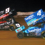 Joey Saldana (9) and Cody Darrah battle for position during the National Open at Williams Grove Speedway Saturday. (Hein Brothers Photo)