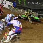 Riders slide through a turn during the 2013 Monster Energy Cup at Boyd Stadium in Las Vegas. (Feld Entertainment Photo)