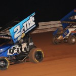 Dale Blaney (2) and Daryn Pittman battle during Saturday's National Open at Williams Grove Speedway. (Julia Johnson Photo)