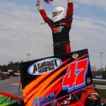 Randy Cabral celebrates after winning the Northeastern Midget Ass'n feature at Thompson (Conn.) Int'l Speedway on Oct. 14. (John DaDalt Photo)