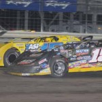 Steve Francis and Brian Birkhofer battle for second during Sunday's Lucas Oil Late Model Knoxville Nationals at Knoxville (Iowa) Raceway. (Conrad Nelson Photo)
