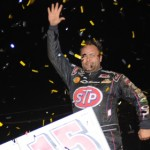 Donny Schatz celebrates in victory lane after winning the World of Outlaws Sprint Car Series National Open Saturday at Williams Grove Speedway. (Julia Johnson Photo)