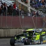 Brett Hearn takes the checkered flag to win the Eastern States 200 at Orange County Fair Speedway for the ninth time. (Dave Dalesandro photo)