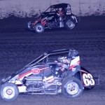 Jerry Coons, Jr. (63) battles Kyle Larson for the lead during the Gold Crown Midget Nationals at Tri-City Speedway. (Don Figler Photo)