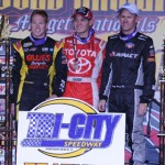 Kyle Larson (center) shared the podium with Brad Sweet (left) and Jerry Coons, Jr. at Tri-City Speedway. (Don Figler Photo)