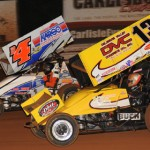 Kyle Larson (13) and Danny Holtgraver race for position Saturday night at Williams Grove Speedway. (Julia Johnson Photo)