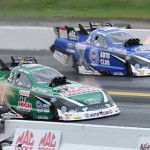 John Force and Robert Hight battle during NHRA Funny Car eliminations at Maple Grove Raceway. (Harry Cella Photo)