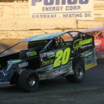 Brett Hearn (20) battles Billy Decker for the lead during the Eastern States 200 Sunday afternoon at Orange County Fair Speedway in Middletown, N.Y. (Dick Ayers Photo)