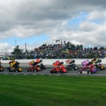 NEMA midgets prepare to take the green flag at New Hampshire's Lee USA Speedway. (John Dadalt photo)