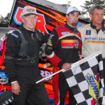 Randy Cabral (center) shared the NEMA podium at Thompson (Conn.) Int'l Speedway with Jeff Horn (left) and Russ Stoehr. (Norm Marx Photo)