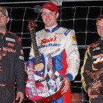 Ross Kenseth (center) shared the All American 400 podium with Bubba Pollard (left) and D.J. Shaw. (Norm Marx Photo)