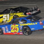 Ross Kenseth (25) battles Kyle Busch during the All American 400 at Fairgrounds Speedway in Nashville, Tenn. (Norm Marx Photo)