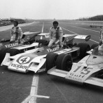 Mario Andretti (left), Al Unser (center) and Peter Revson shared the front row for the IndyCar event at Pocono Raceway in Long Pond, Pa., in 1973. (NSSN Archives Photo)