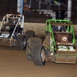 Brian Tyler and Bud Kaeding battle for position during the USAC Silver Crown finale at Indiana's Terre Haute Action Track. (David E. Heithaus photo)