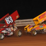 Tim Shaffer (83) and Jac Haudenschild during Saturday's National Open at Williams Grove Speedway. (Julia Johnson Photo)