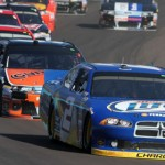 Brad Keselowski (2) leads a pack of cars during Sunday's AdvoCare 500 at Phoenix Int'l Raceway. (HHP/Christa L. Thomas Photo)