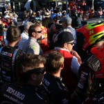 Crew members from Jeff Gordon and Clint Bowyer scuffle in the garage area at Phoenix Int'l Raceway after Gordon and Bowyer crashed on track Sunday. (NASCAR Photo)