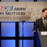 Jeff Gordon speaks after winning the Myers Brothers Award during the NASCAR NMPA Myers Brothers Awards Luncheon at Encore Las Vegas Thursday. (NASCAR Photo)