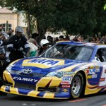 Martin Truex Jr. pits during the NASCAR Victory Lap on the Las Vegas Strip Thursday. (NASCAR Photo)