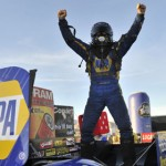 Ron Capps celebrates after winning the NHRA Funny Car portion of the Big O Tires NHRA Nationals Sunday at The Strip at Las Vegas Motor Speedway. (NHRA Photo)