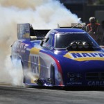 Ron Capps performs a burnout Sunday during the Big O Tires NHRA Nationals at The Strip at Las Vegas Motor Speedway. (NHRA Photo)