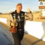 Bob Vandergriff, Jr. celebrates after winning his second NHRA Top Fuel Wally Sunday at The Strip at Las Vegas Motor Speedway. (NHRA Photo)