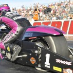 Eddie Krawiec prepares to fly down the drag strip during NHRA Pro Stock Motorcycle competition Sunday at The Strip at Las Vegas Motor Speedway. (NHRA Photo)