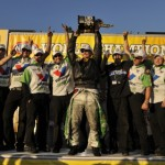 Jack Beckman celebrates with his crew after claiming  his first NHRA Funny Car World Championship. (NHRA Photo)