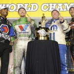 From left, Antron Brown, Jack Beckman, Allen Johnson and Ed Krawiec celebrate after securing their respective NHRA World Championships. (NHRA Photo)
