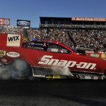 Cruz Pedregon performs a burnout during NHRA Funny Car eliminations Sunday at Auto Club Raceway at Pomona. (NHRA Photo)