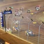 Super DIRTcar Series big-block modifieds take the green flag Saturday night at The Dirt Track at Charlotte Motor Speedway. (Dave Dalesandro/DSI Photo)