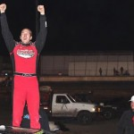 Jeremy Payne celebrates after winning the United States Modified Touring Series finale at Royal Purple Raceway in Baytown, Texas. (RonSkinnerPhotos.com Photo)