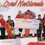 Mike Spencer (center) shared the Budweiser Oval Nationals podium with Tracy Hines (left) and Jon Stanbrough. (Doug Allen Photo)