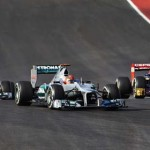Michael Schumacher leads teammate Nico Rosberg and Jean-Eric Vergne during Sunday's United States Grand Prix at Circuit of the Americas. (Steve Etherington Photo)