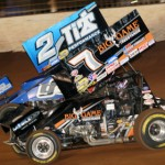 Dale Blaney (2) battles Craig Dollansky during World of Outlaws Sprint Car Series action at The Dirt Track at Charlotte Motor Speedway on Saturday night. (Dick Ayers Photo)