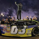 Dylan Kwasniewski celebrates after clinching his first NASCAR K&N Pro Series West championship at Phoenix Int'l Raceway on Saturday. (NASCAR Photo)