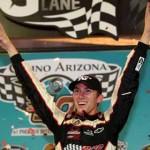 Michael Self celebrates after winning the NASCAR K&N Pro Series West finale Saturday at Phoenix Int'l Raceway. (NASCAR Photo)