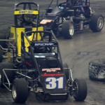 Derek Bischak (31) leads Bobby East late in last year's Rumble In Fort Wayne at the Memorial Coliseum Expo Center. (Kevin Lillard Photo)