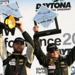 Lara Tallman (right) and co-driver Vesko Kozarov celebrate their victory in the Street Tuner class during the BMW Performance 200 Friday at Daytona Int'l Speedway. (Grand-AM Photo)