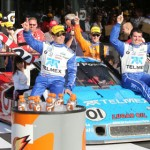 The Chip Ganassi Racing with Felix Sabates No. 01 BMW Riley rolls into victory lane at Daytona Int'l Speedway on Sunday after winning the Rolex 24. (Grand-Am Photo)